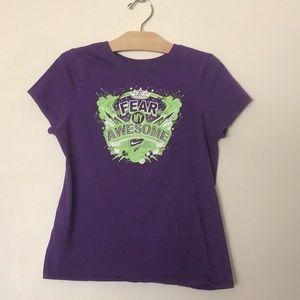 "Kids Nike ""Fear My Awesome"" purple t-shirt"